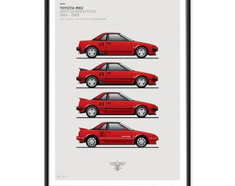 Toyota MR2 AW11 Generations Poster SUPER RED