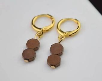 hematite hexagon hoop earring gold gemstone hoops endless hoop huggie dangle earring simple earrings everyday/gift for her