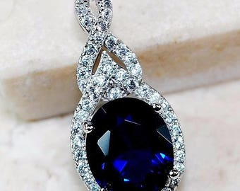 3CT Blue Sapphire & White Topaz 925 Solid Sterling Silver Pendant