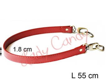 Bag style red 55 cm shoulder strap faux leather #330139 leather handle