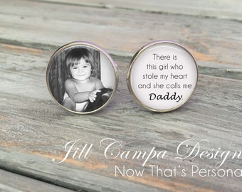 Custom Photo Cuff links - Father of the Bride Cufflinks - Custom Photo Cuff Links - Silver Wedding Cufflinks - Picture Cuff Links -