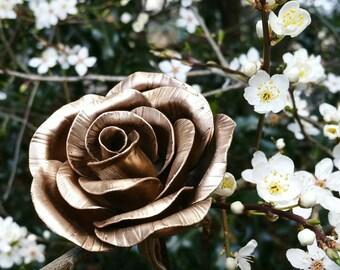 Bronze Rose, 8th Bronze Wedding Anniversary, Metal Art Sculpture, Metal Flower, Everlasting Flower, Wedding Memorial Table