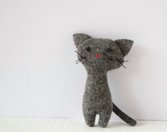 Mini stuffed Cat animal, grey wool, Le Chat Gris, mini pet for soft handmade art doll, unique nursery decoration