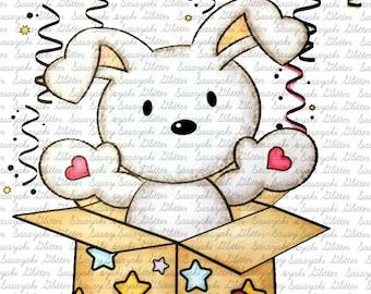 Surprise Bunny Digital Stamp by Sasayaki Glitter