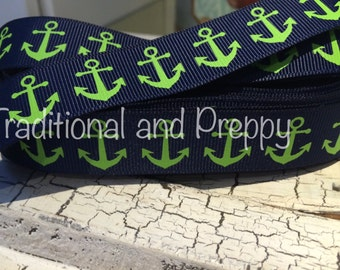 """7/8"""" Preppy Nautical ANCHOR FOE Green on NAVY Fold Over Elastic  sold by the yard"""