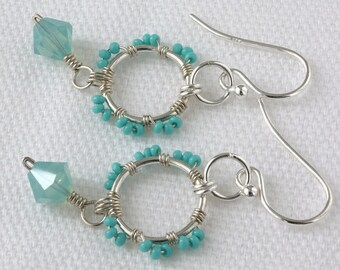 Handmade Jewelry Lot, Chrysocolla, Amazonite, Crystal Quartz, Sterling Silver Earrings