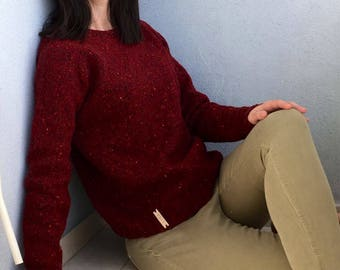 100% Merino Wool Sweater Hand Knit in Burgundy / Made to Order