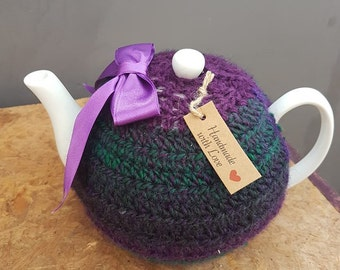 Purple & Green Crochet Tea Cosy includes Tea Pot
