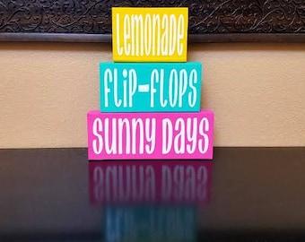 Summer Wood Blocks - Summer Blocks - Summer Decor - Summer Wood Decor - Lemonade - Flip-Flops - Sunny Days - Summer Sign