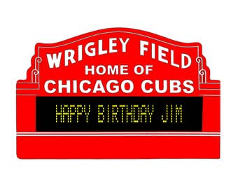 Custom Wrigley Field Sign Marquee Chicago Cubs Art Gift Poster Print Baseball Man Cave Framed World Series Champions