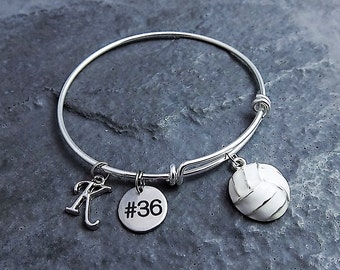 Volleyball gifts etsy volleyball bracelet team gifts choose initial and number charm bracelet volleyball gifts negle Images