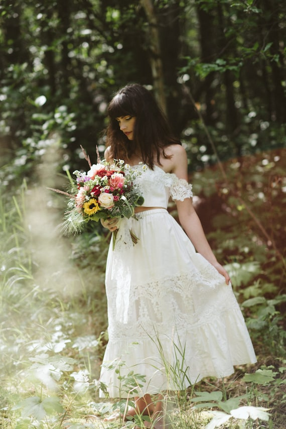 Bridal Crop top and Bridal Petticoat skirt set boho wedding
