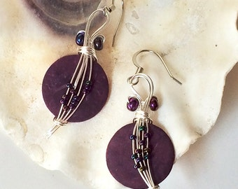 Purple Earrings, Seed Bead Earrings, Wire Jewelry, Gypsy Jewelry, Wire Wrap Earrings, Boho Chic, Bohemian, Gypsy Earrings, Wire Earrings