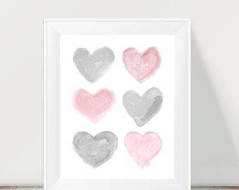 Pink Gray Nursery, Kids Decor, 11x14 Print, Pink and Gray Art, Pink and Gray Print, Pink Gray Wall Decor, Pink and Gray Girls Room, Kids Art