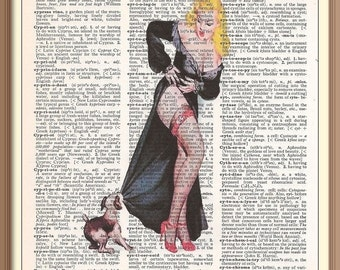 Vintage  PinUp Girl  With Puppy ---Vintage Dictionary Art Print---Fits 8x10 Mat or Frame