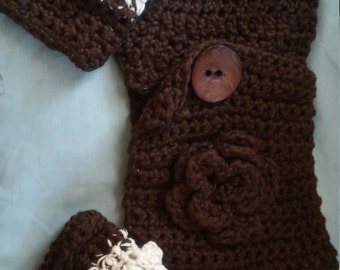 brown organic cotton scarf and fingerless glove set