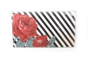 2018 - 2019  mini Planner - Red Rose Stripe - floral pocket planner - two year planner - 2 year monthly planner horizontal stocking stuffer