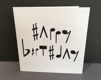 Happy birthday music card birthday card with button notes music birthday card paper cut card musical notes for her him bookmarktalkfo Images