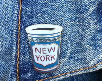 NY Coffee Cup Pin, NYC, Hard Enamel Pin, Jewelry, Art, Gift (PIN40)