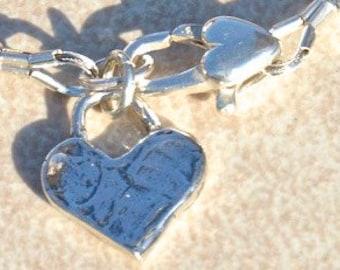 Amethyst Bracelet, February Birthstone, Handmade Gemstone Bracelet, Birthday Gift, Sterling Silver Heart Charm, Delicate Purple Bracelet