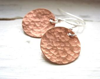 Copper Earrings, Copper Disk Earrings, Handmade Metalwork Copper Earrings, Copper Jewelry, Metalwork Earrings, Hammed Copper