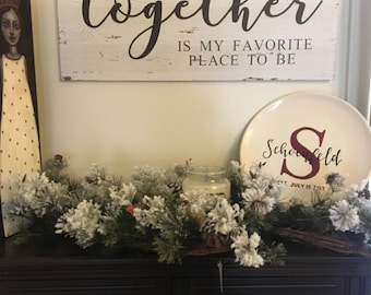 Christmas Sign, Together Sign, Living Room Sign, Distressed Sign, Farmhouse Sign, Farmhouse Decor, Christmas Decor, Living Room Decor