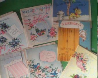 Sale -Reduced -  Vintage Greeting Cards Lot - Birthday - Get Well -unused