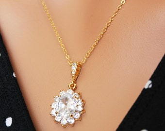 Gold Crystal Drop Wedding Necklace, CZ Gold Crystal Drop Bridal Necklace, Bridesmaids Wedding Pendant, Bridal Accessories, Crystal Pendant