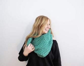 chunky hood scarf. mint green scarf. crochet cowl scarf. chunky scarf. circle scarf. mint infinity scarf. womens scarf. winter hood cowl.