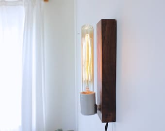 industrial lamp, wall sconce, industrial lighting, wooden lamp