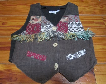 Vintage 1980's Hippie Vest With Fringe And Tapestry Patches