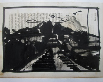 Original India Ink Landscape Drawing on Antique Book Paper, Stooshinoff