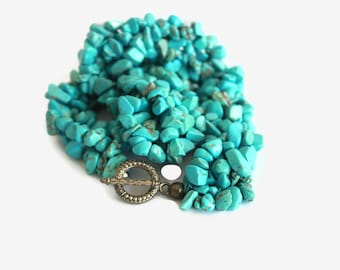 Beaded necklace turquoise , Turquoise necklace for women ,