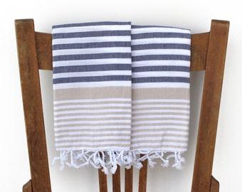 Kitchen Towels Handwoven Cotton Turkish Hand Towel Bathroom Towel Face Towel Tea Towel Guest Towel Turkish Towel Spa Blue BEIGE PESHKIR SET