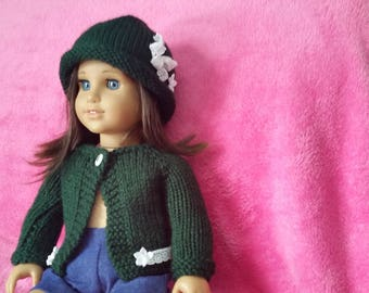 Forest green hat and sweater set for dolls