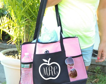 Personalized Bag, Teacher Bag, personalized with monogram, Heavy tote bag, zippered, Heavy canvas, Carryall, Teacher