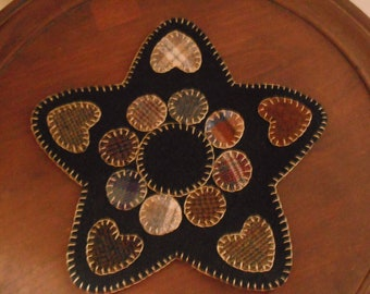 NEW!! Penny Rug/ Candle Mat Kit- Ethan's Star- Primitive Wool Embroidery