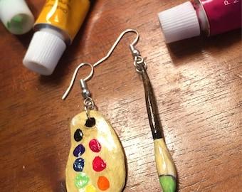 Green Paint Brush and Palette Inspired Earring Set