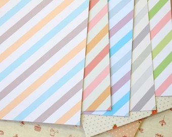 Set 01 Ice Cream Stripes Pastel Mix printed card stock 250gsm