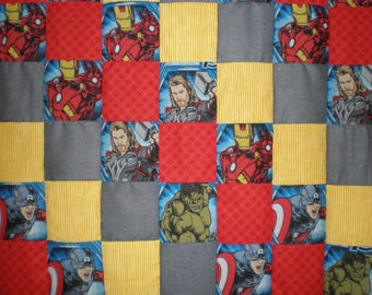 Upcycled Avengers Patchwork Quilt