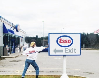Vintage 90s Esso Racing Jacket / White Large Medium Racing Coat Jacket Vtg Nineties Nascar