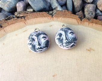 Rustic clay charms - faces - set of 2