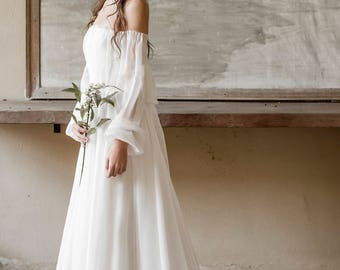 Bohemian wedding dress, boho wedding dress, beach wedding dress, Ivory silk chiffon wedding gown, destination wedding dress, bridal gown