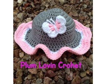 Crochet Baby Sun Hat with Butterfly
