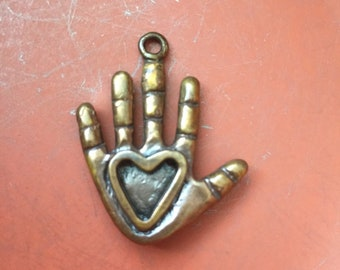 Double sided Bronze Heart Spiral Hand Pendant Jewelry Necklace Handmade Rustic