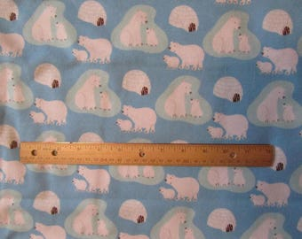 Blue with White Polar Bears Flannel Fabric  by the Yard