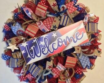 Patriotic wreath, Patriotic burlap wreath, burlap patriotic wreath, Memorial Day decor, 4th of July wreath, patriotic wreaths, wreath