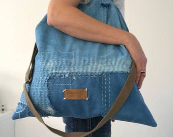 20% OFF - Indigo dyed canvas tote bag