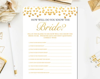 Gold Bridal Shower Games How Well Do You Know The Bride To Be Game, Printable Gold Bridal Shower Who Knows the Bride Best Game BR23