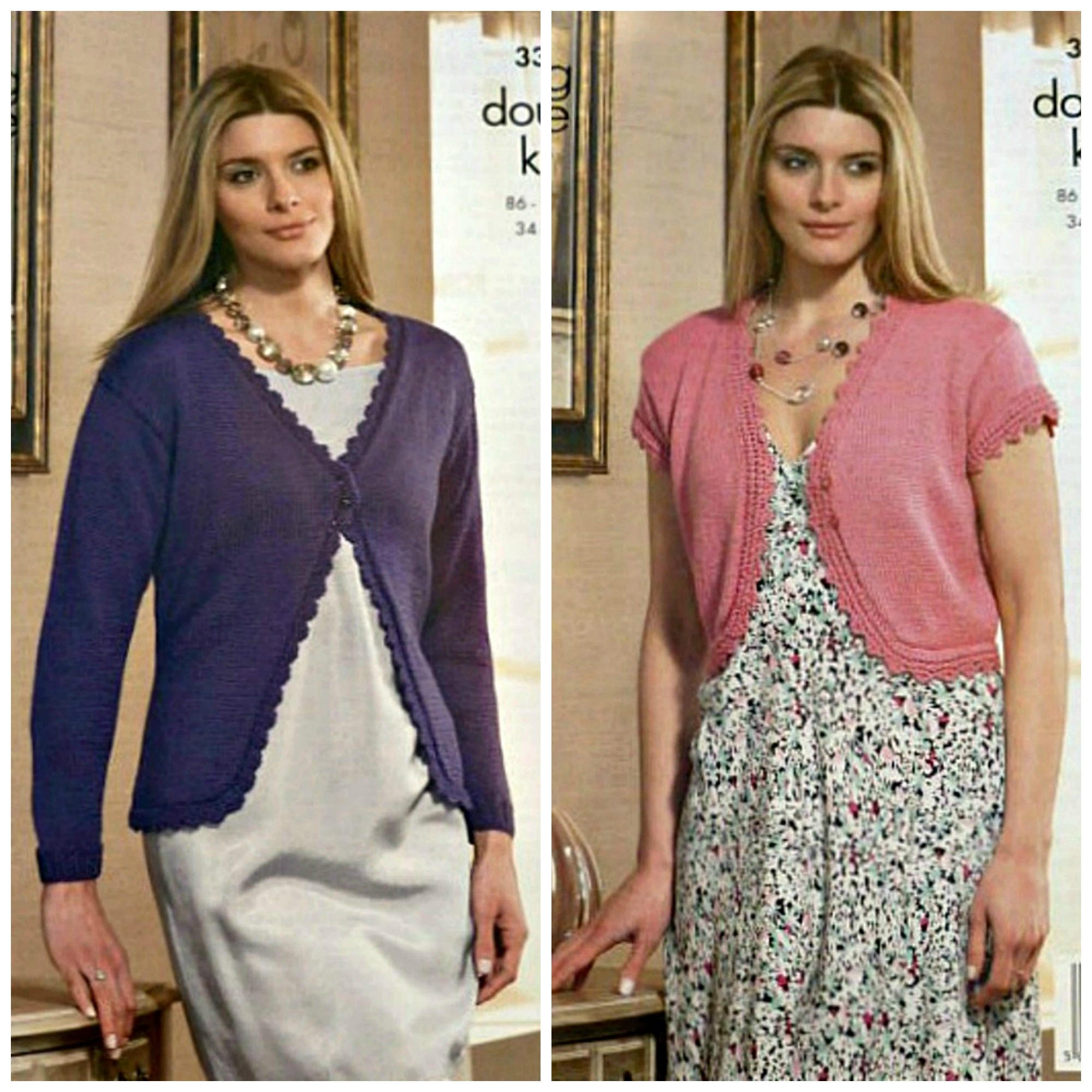 Womens Knitting Pattern K3365 Ladies Lace Edge Long or Short Sleeve ...